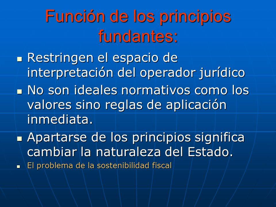 Función de los principios fundantes: