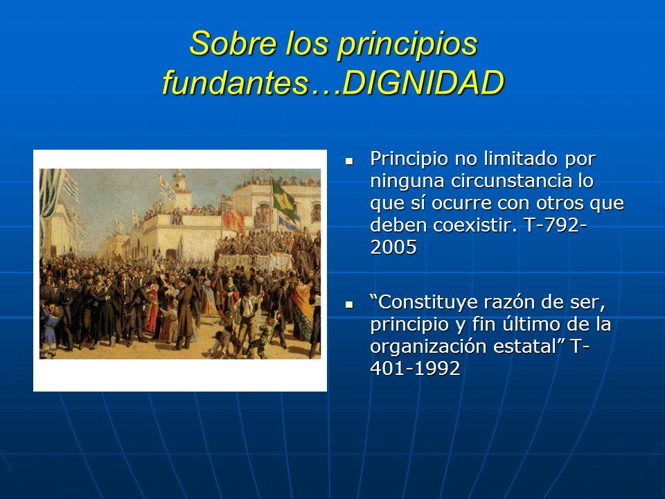 Sobre los principios fundantes…DIGNIDAD