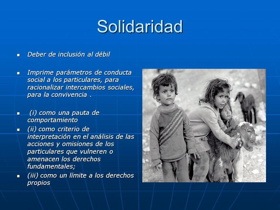 Solidaridad Deber de inclusión al débil