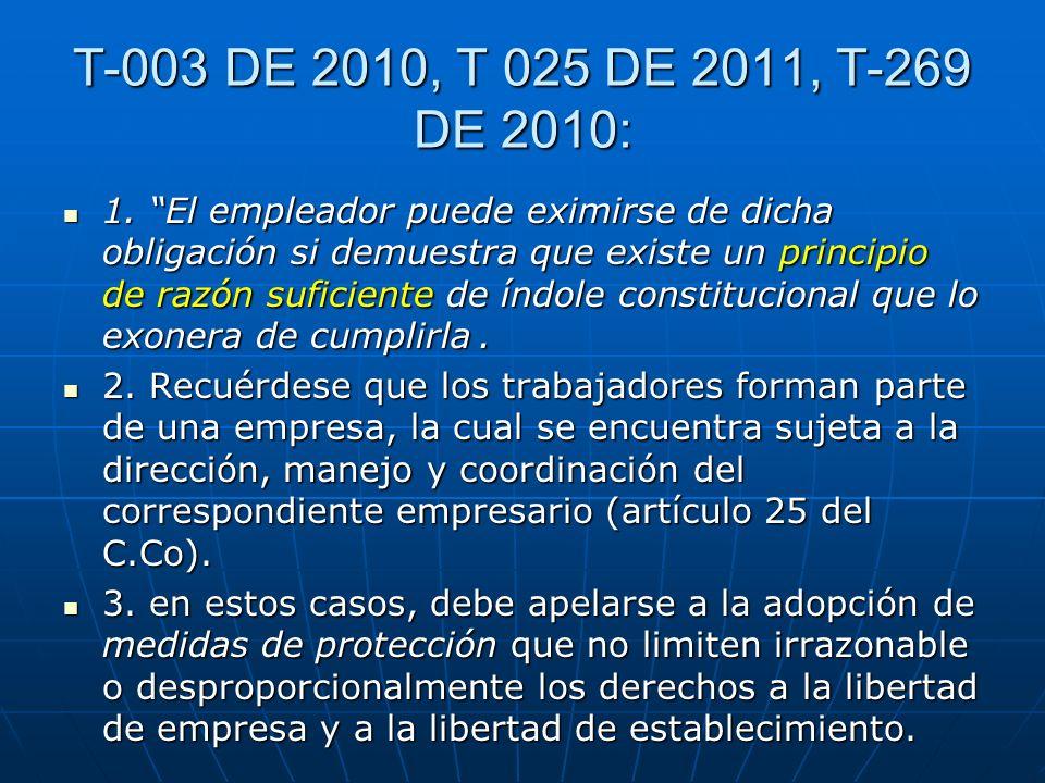 T-003 DE 2010, T 025 DE 2011, T-269 DE 2010: