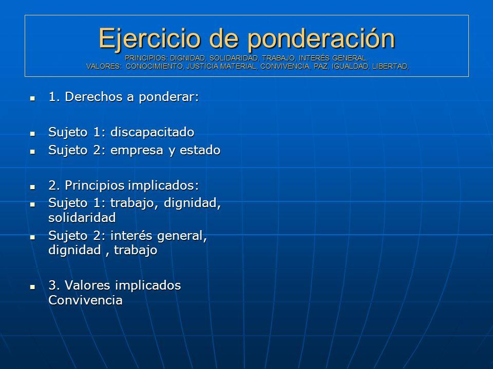 Ejercicio de ponderación PRINCIPIOS: DIGNIDAD, SOLIDARIDAD, TRABAJO, INTERÉS GENERAL. VALORES: CONOCIMIENTO, JUSTICIA MATERIAL, CONVIVENCIA, PAZ, IGUALDAD, LIBERTAD,