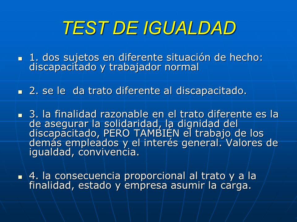 TEST DE IGUALDAD 1. dos sujetos en diferente situación de hecho: discapacitado y trabajador normal.