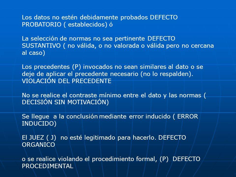 Los datos no estén debidamente probados DEFECTO PROBATORIO ( establecidos) ó