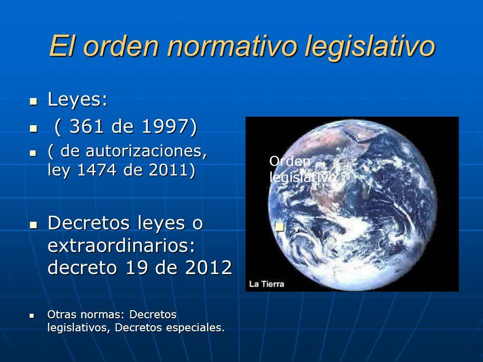 El orden normativo legislativo