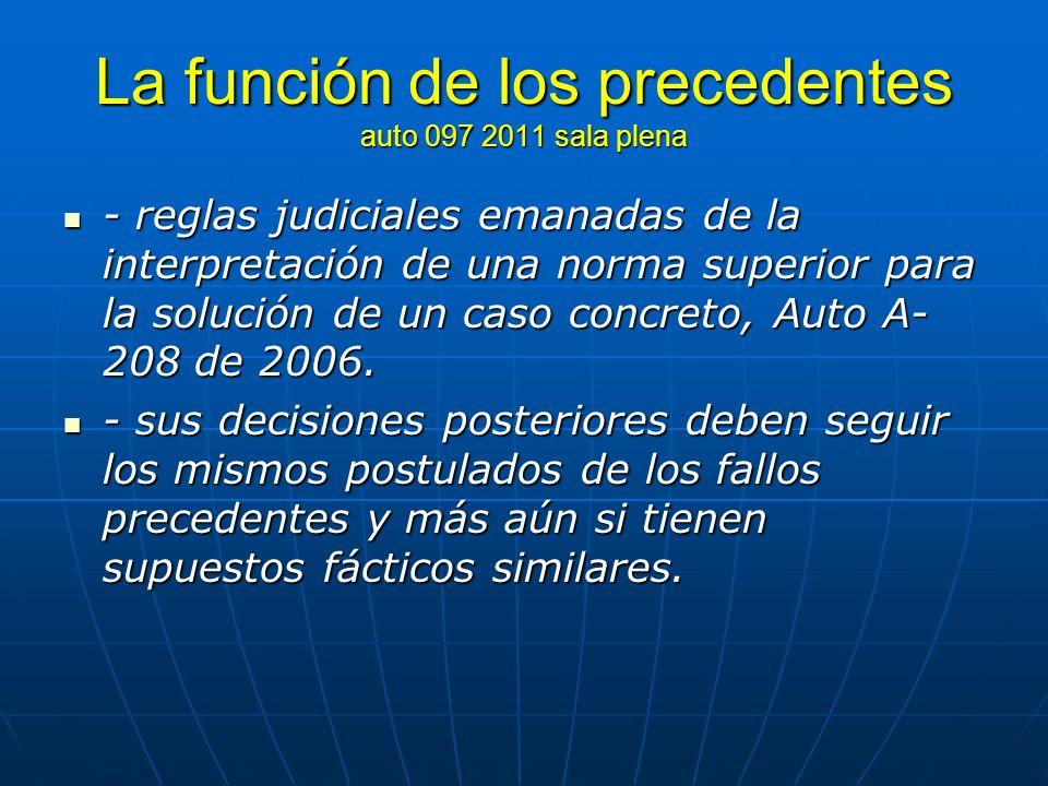 La función de los precedentes auto 097 2011 sala plena