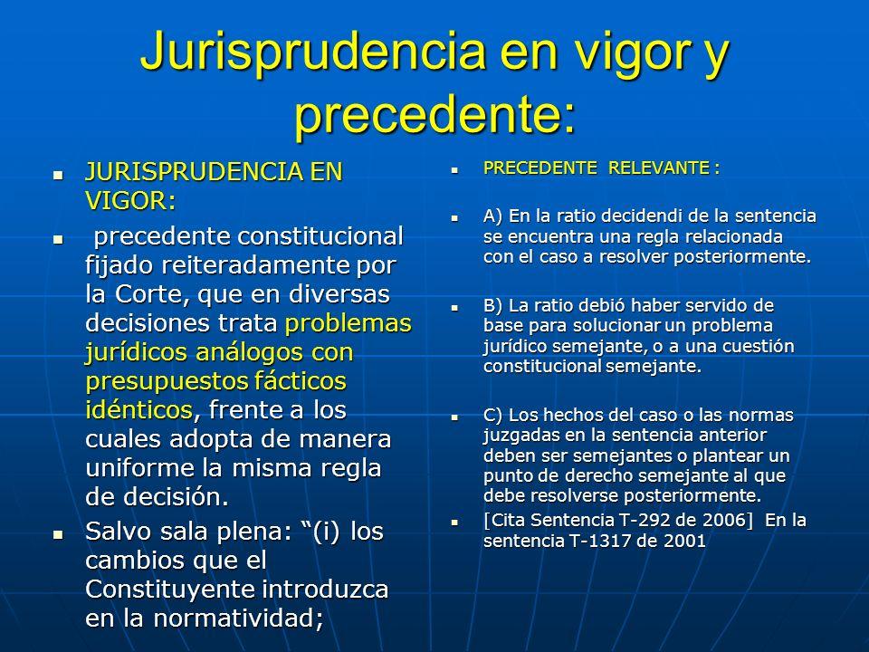 Jurisprudencia en vigor y precedente: