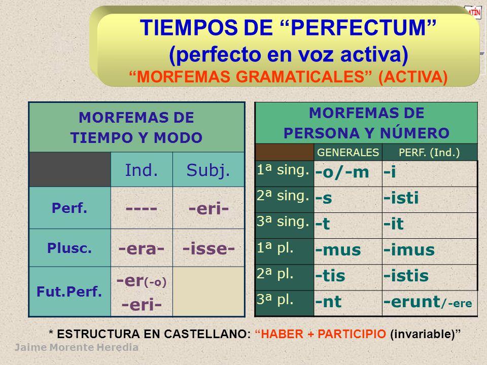 TIEMPOS DE PERFECTUM (perfecto en voz activa) MORFEMAS GRAMATICALES (ACTIVA)