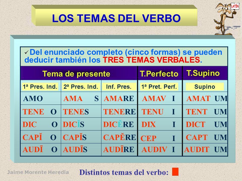 LOS TEMAS DEL VERBO Del enunciado completo (cinco formas) se pueden deducir también los TRES TEMAS VERBALES.