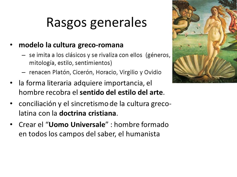 Rasgos generales modelo la cultura greco-romana