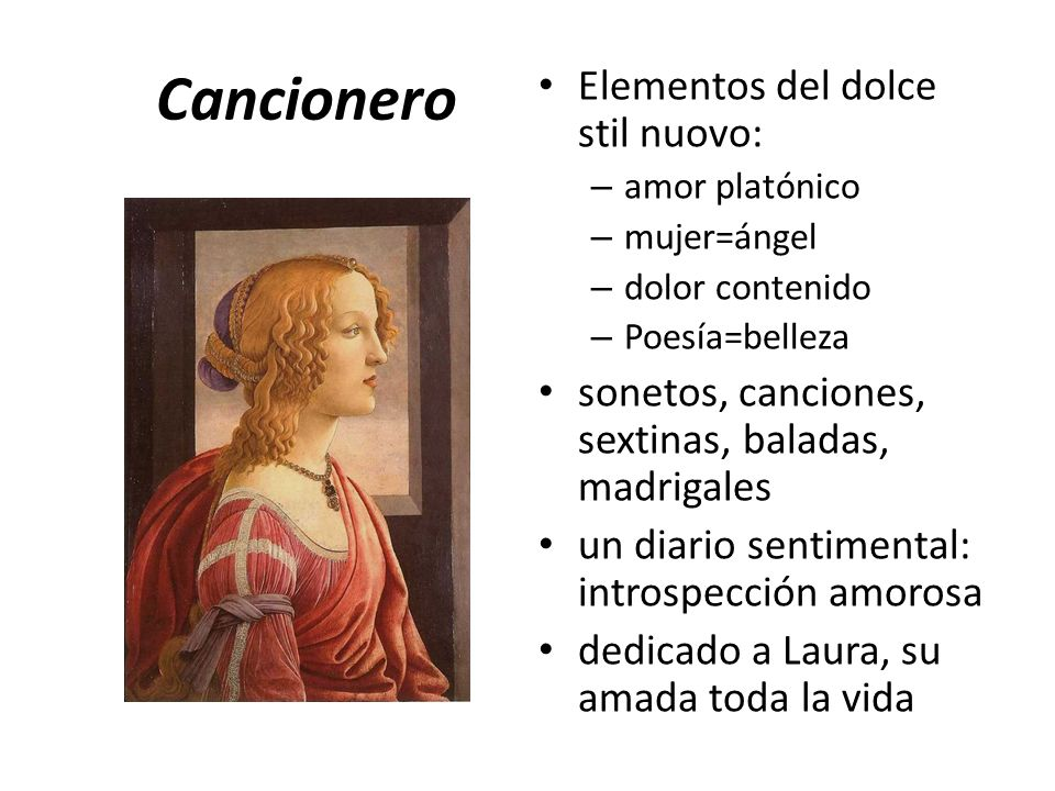Cancionero Elementos del dolce stil nuovo:
