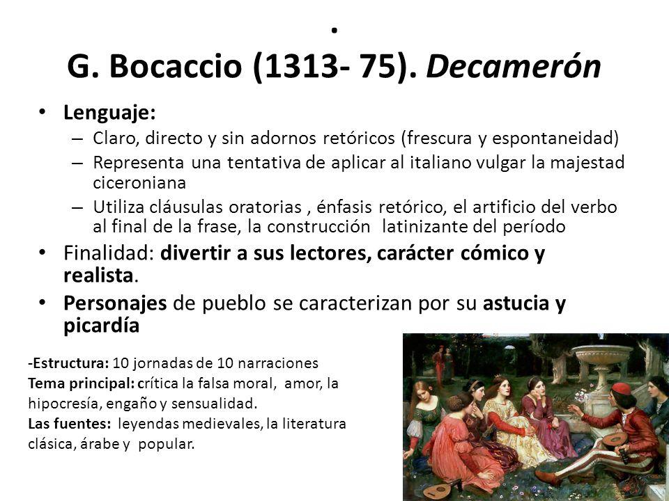 . G. Bocaccio (1313- 75). Decamerón