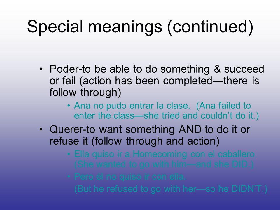 Special meanings (continued)