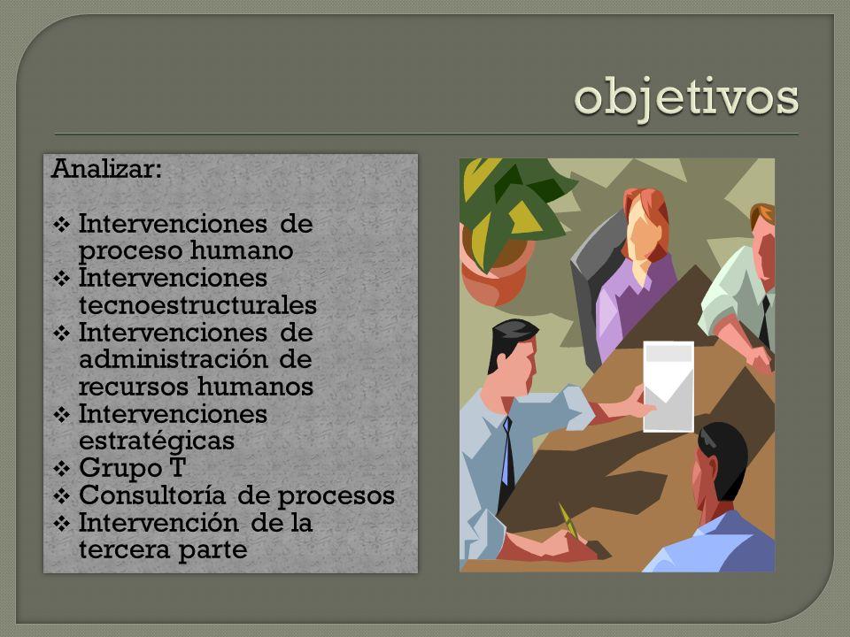 objetivos Analizar: Intervenciones de proceso humano