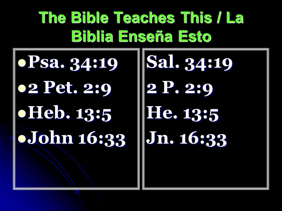 The Bible Teaches This / La Biblia Enseña Esto