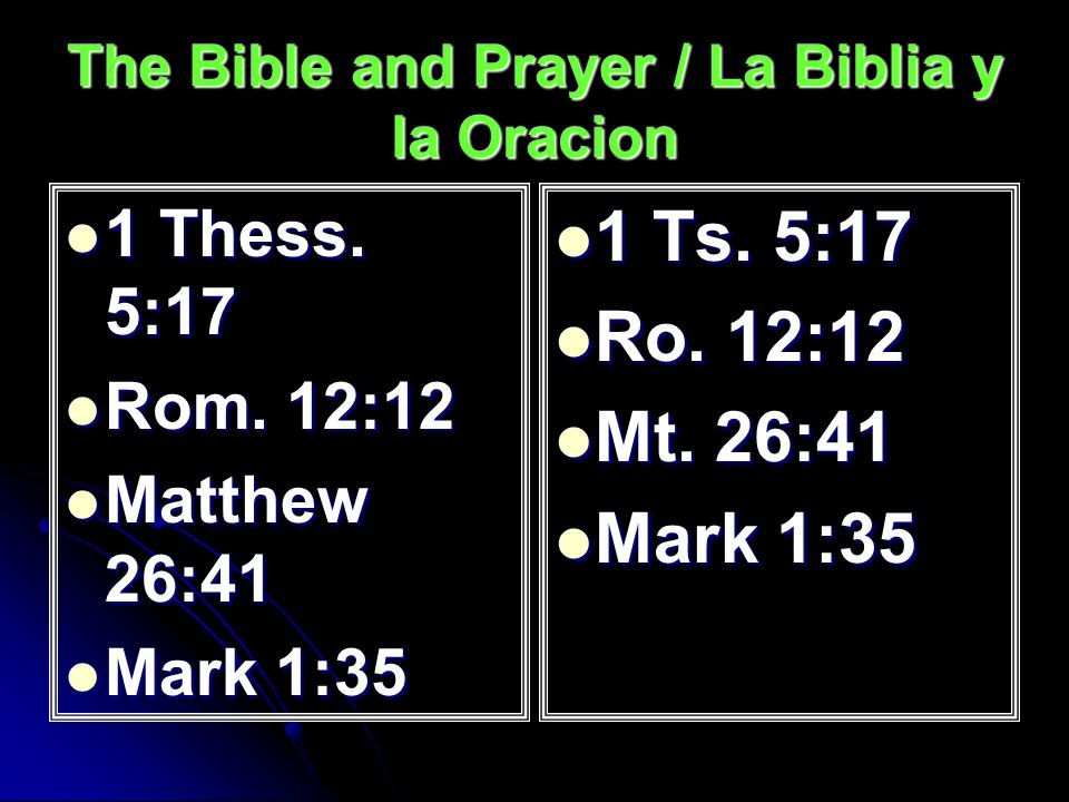 The Bible and Prayer / La Biblia y la Oracion