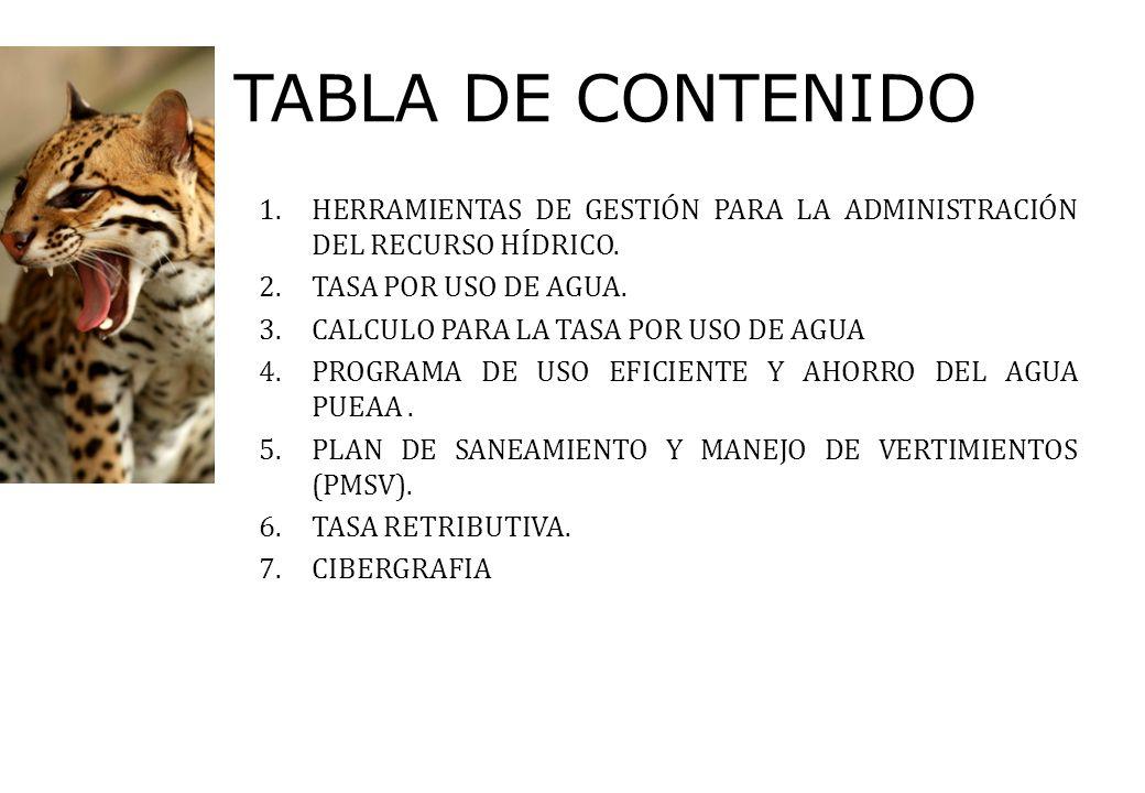 TABLA DE CONTENIDO HERRAMIENTAS DE GESTIÓN PARA LA ADMINISTRACIÓN DEL RECURSO HÍDRICO. TASA POR USO DE AGUA.