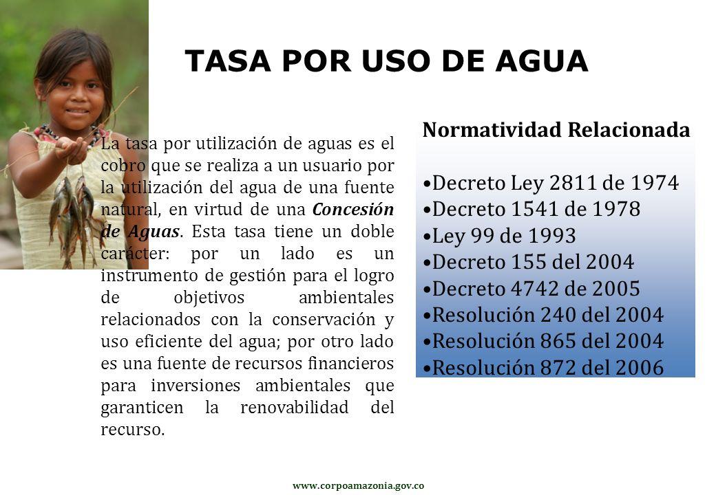 TASA POR USO DE AGUA Normatividad Relacionada Decreto Ley 2811 de 1974