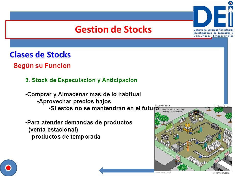 Gestion de Stocks Clases de Stocks Según su Funcion
