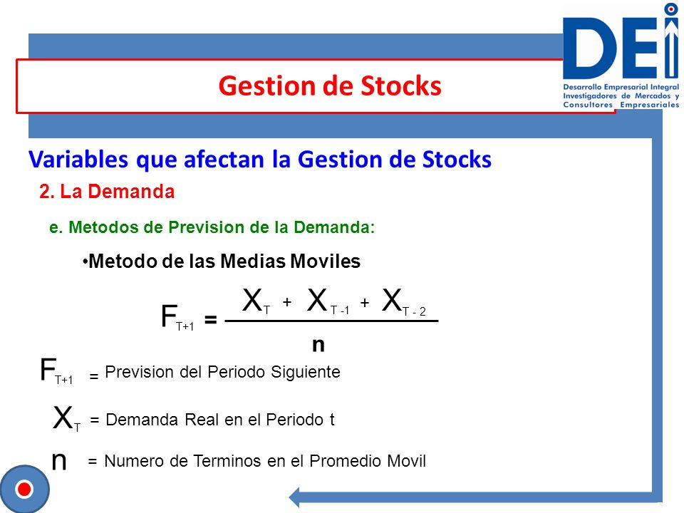 Gestion de Stocks X F F X n Variables que afectan la Gestion de Stocks