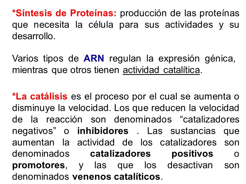 *Síntesis de Proteínas: producción de las proteínas que necesita la célula para sus actividades y su desarrollo.
