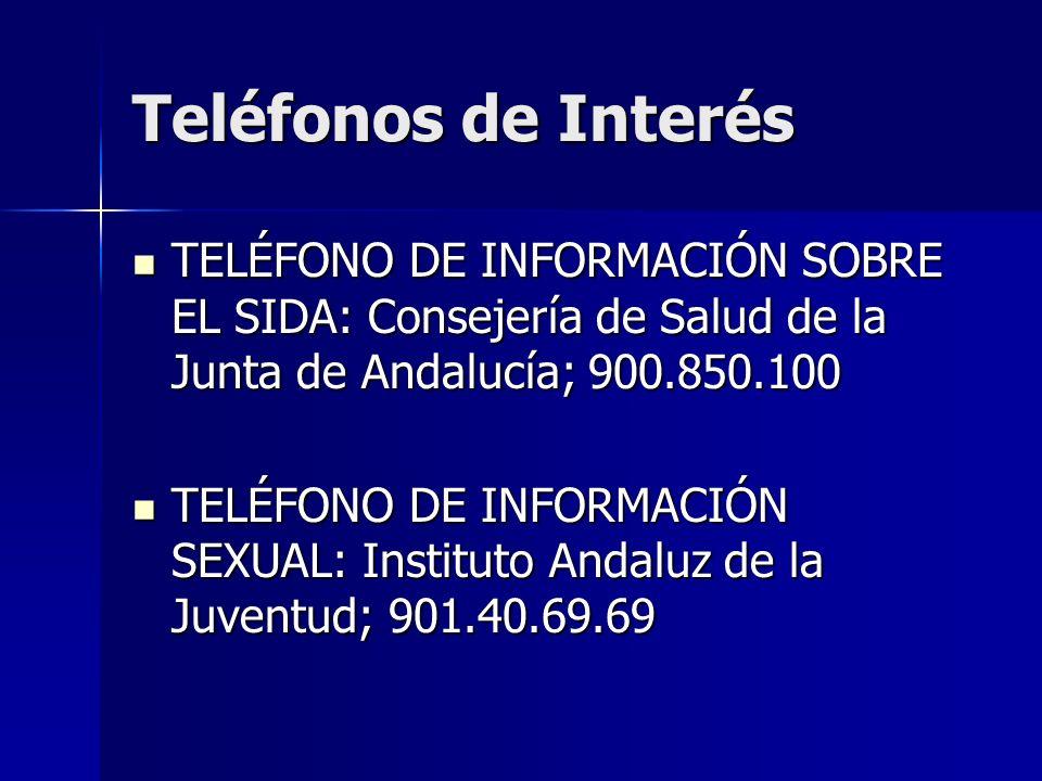 Teléfonos de Interés TELÉFONO DE INFORMACIÓN SOBRE EL SIDA: Consejería de Salud de la Junta de Andalucía; 900.850.100.