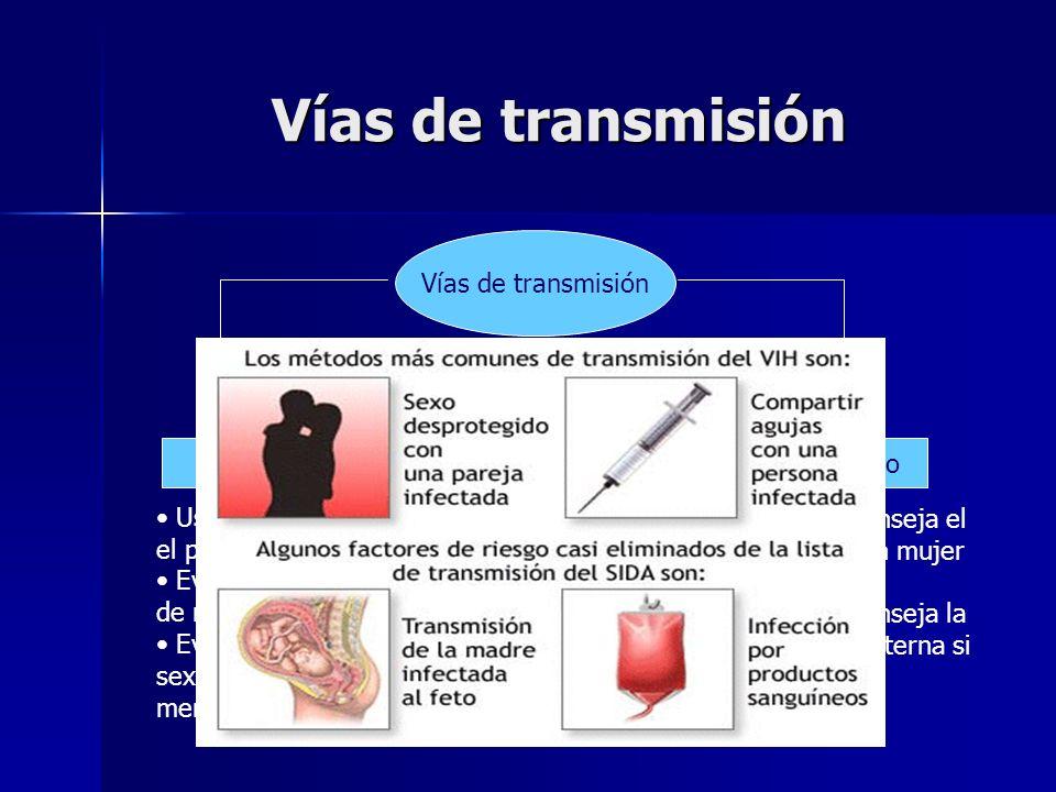 Vías de transmisión Vías de transmisión Sexual Sanguínea Madre-Hijo