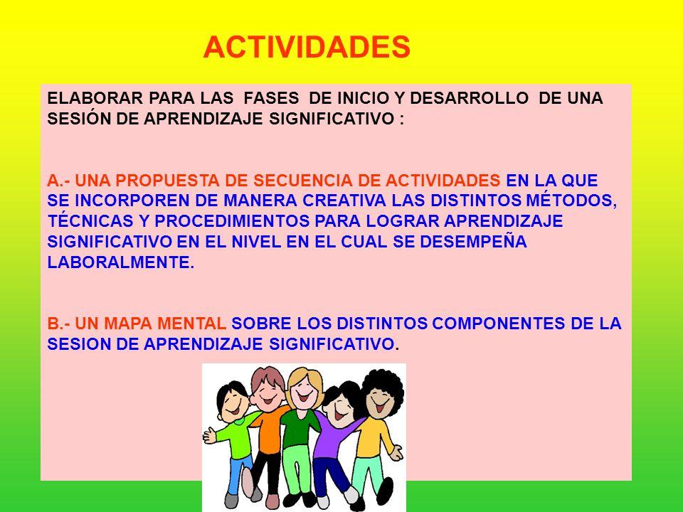 ACTIVIDADES ELABORAR PARA LAS FASES DE INICIO Y DESARROLLO DE UNA SESIÓN DE APRENDIZAJE SIGNIFICATIVO :