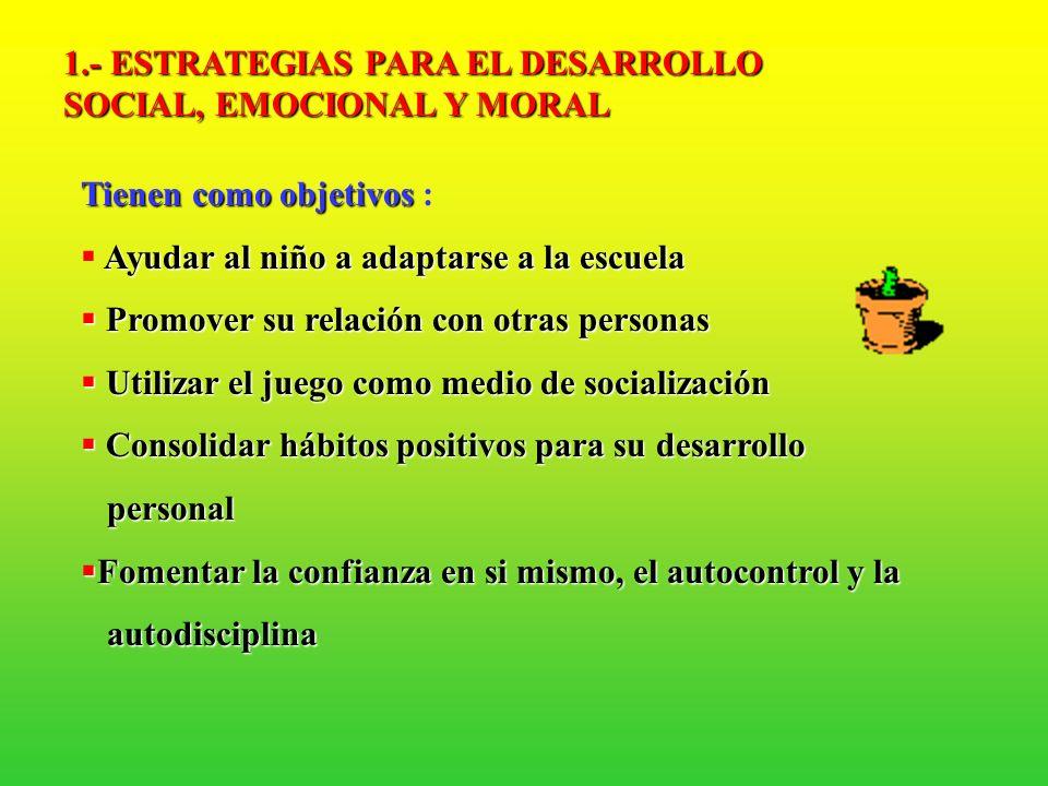 1.- ESTRATEGIAS PARA EL DESARROLLO SOCIAL, EMOCIONAL Y MORAL
