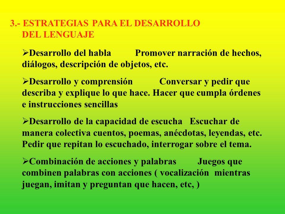 3.- ESTRATEGIAS PARA EL DESARROLLO