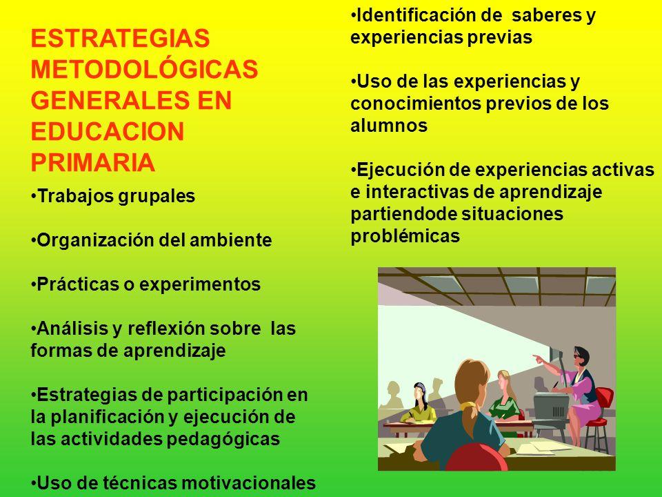 METODOLÓGICAS GENERALES EN EDUCACION PRIMARIA