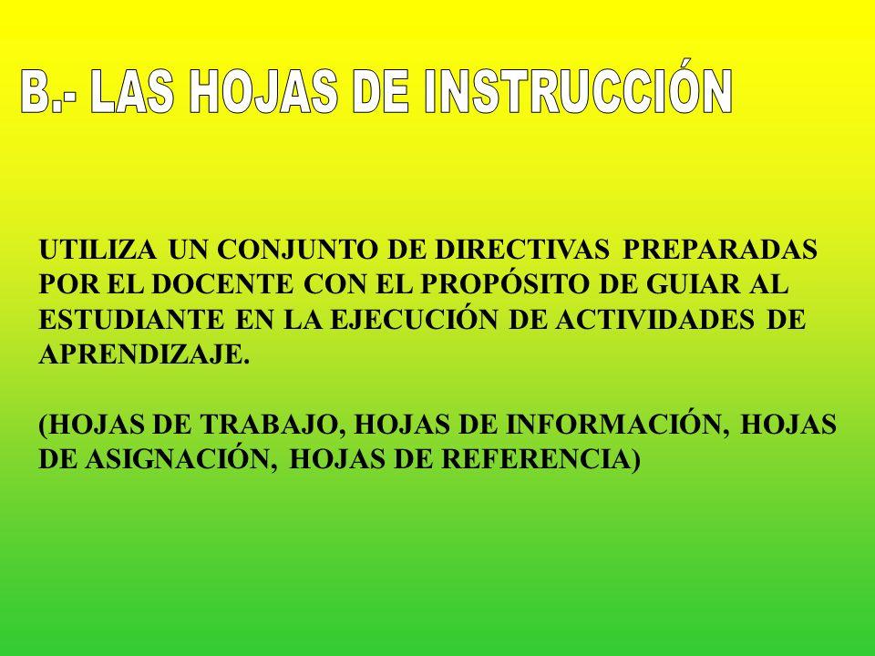 B.- LAS HOJAS DE INSTRUCCIÓN