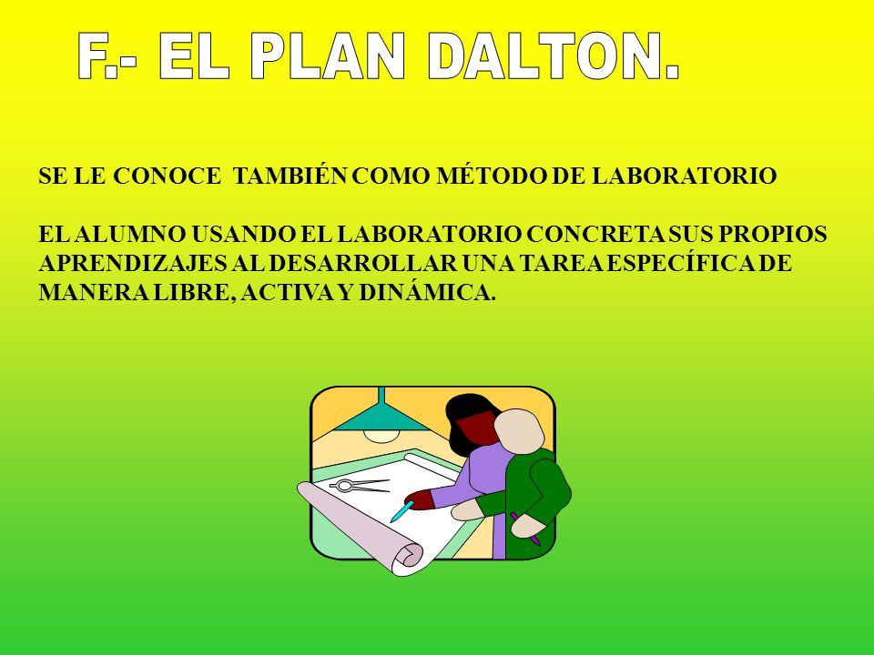 F.- EL PLAN DALTON. SE LE CONOCE TAMBIÉN COMO MÉTODO DE LABORATORIO