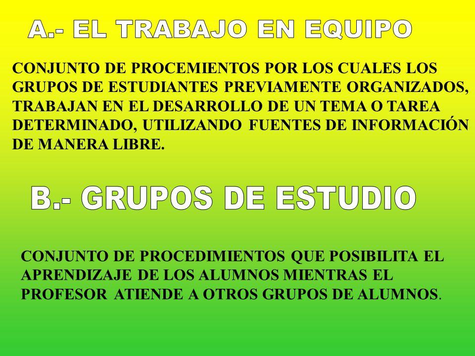 A.- EL TRABAJO EN EQUIPO B.- GRUPOS DE ESTUDIO