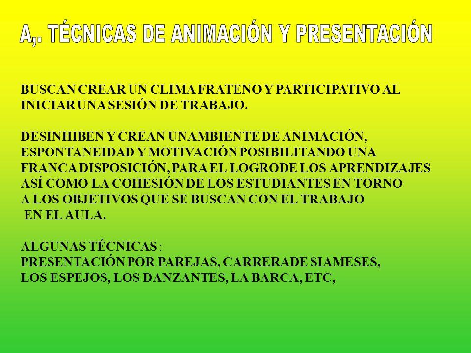 A,. TÉCNICAS DE ANIMACIÓN Y PRESENTACIÓN