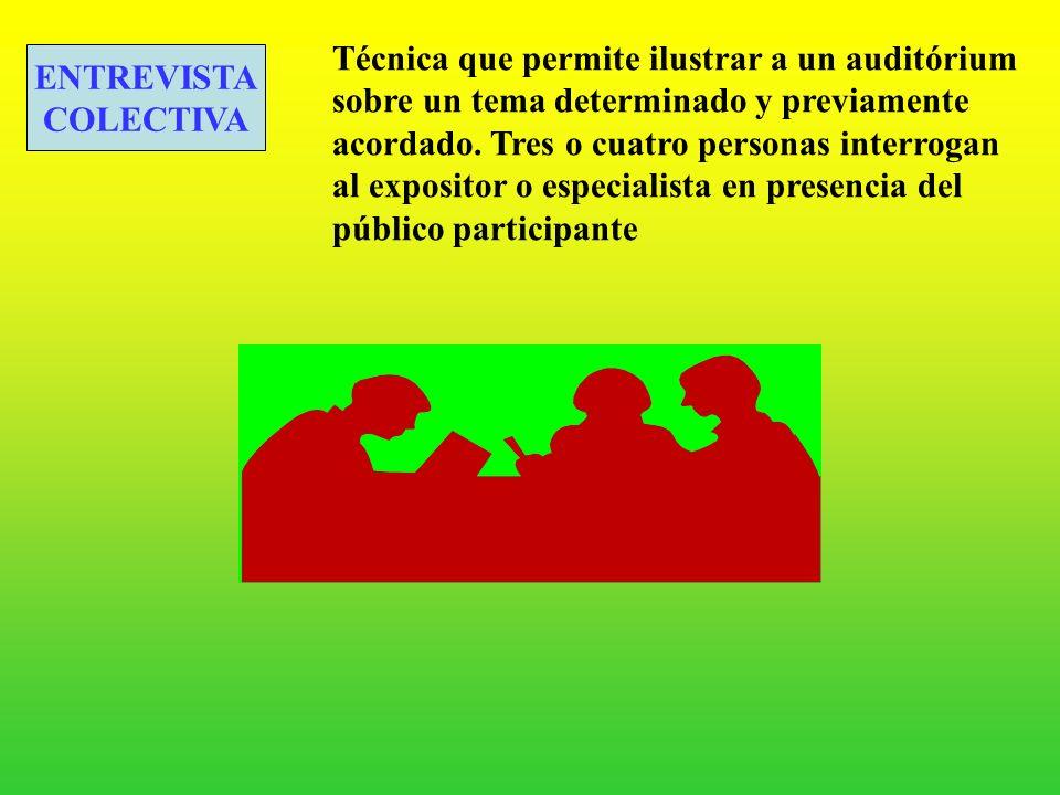 Técnica que permite ilustrar a un auditórium sobre un tema determinado y previamente acordado. Tres o cuatro personas interrogan al expositor o especialista en presencia del público participante