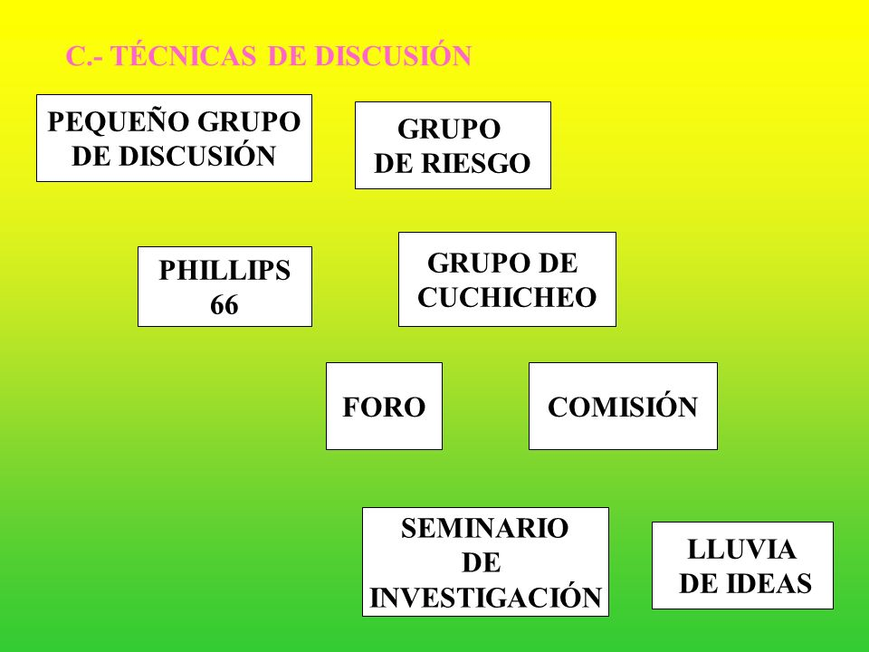 C.- TÉCNICAS DE DISCUSIÓN