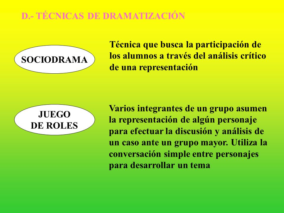 D.- TÉCNICAS DE DRAMATIZACIÓN
