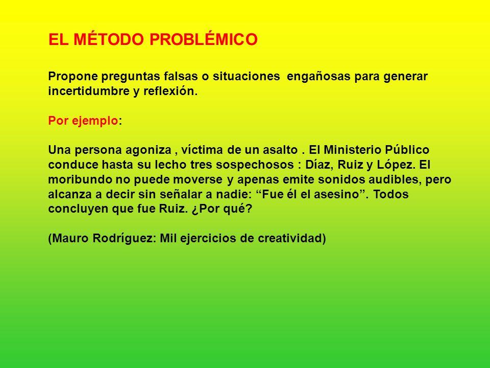 EL MÉTODO PROBLÉMICO Propone preguntas falsas o situaciones engañosas para generar incertidumbre y reflexión.