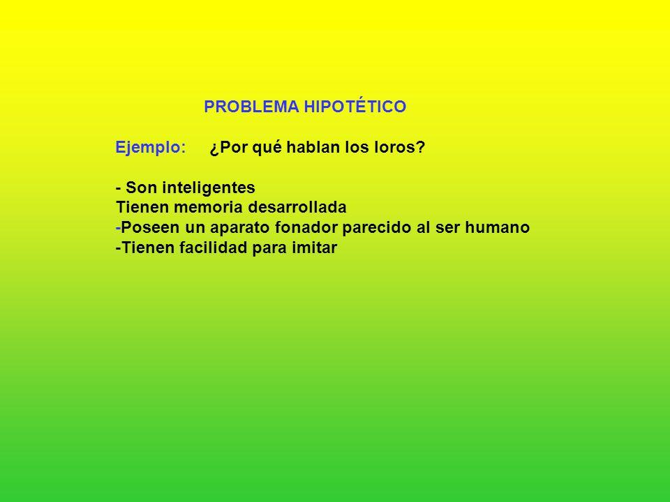 PROBLEMA HIPOTÉTICO Ejemplo: ¿Por qué hablan los loros - Son inteligentes. Tienen memoria desarrollada.