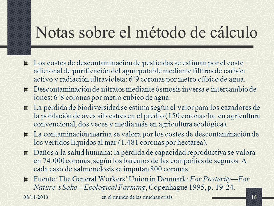 Notas sobre el método de cálculo