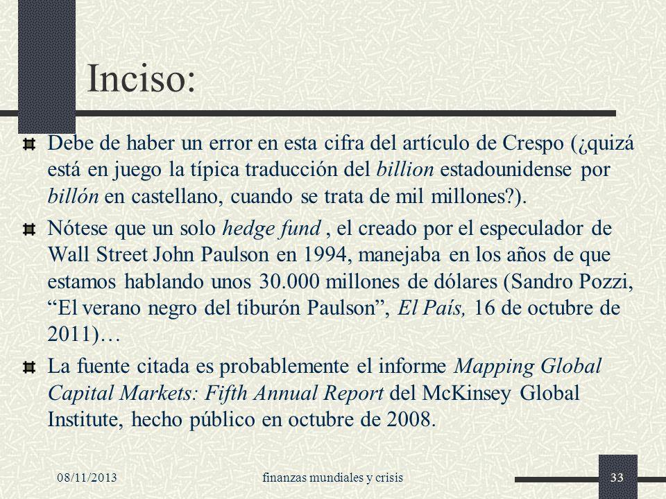 finanzas mundiales y crisis