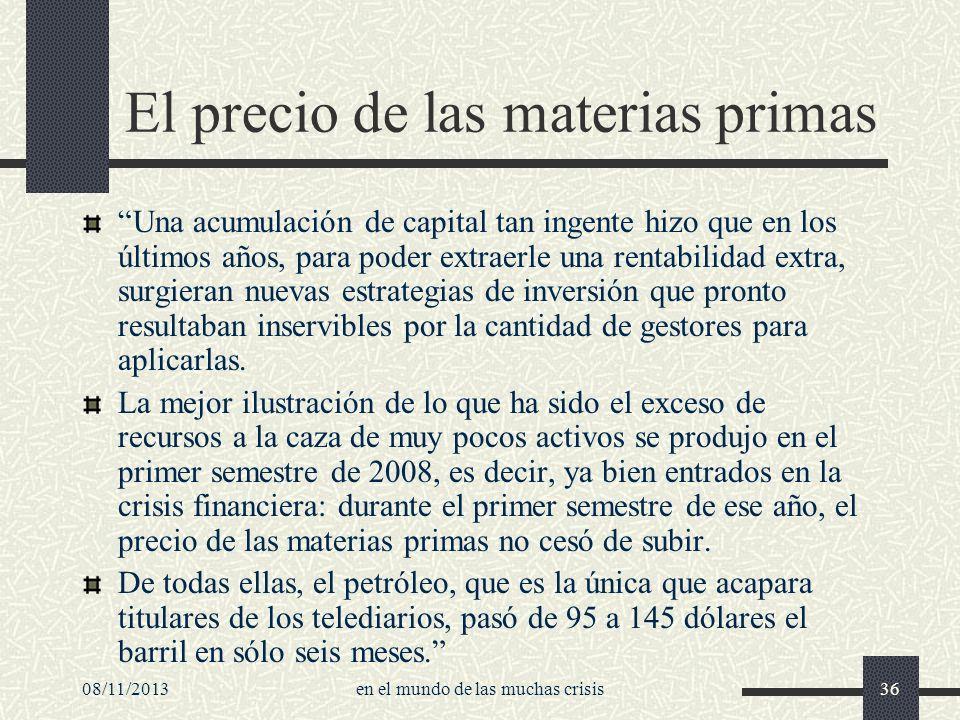 El precio de las materias primas