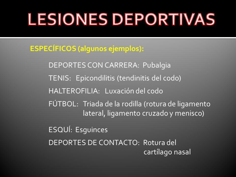 LESIONES DEPORTIVAS ESPECÍFICOS (algunos ejemplos):