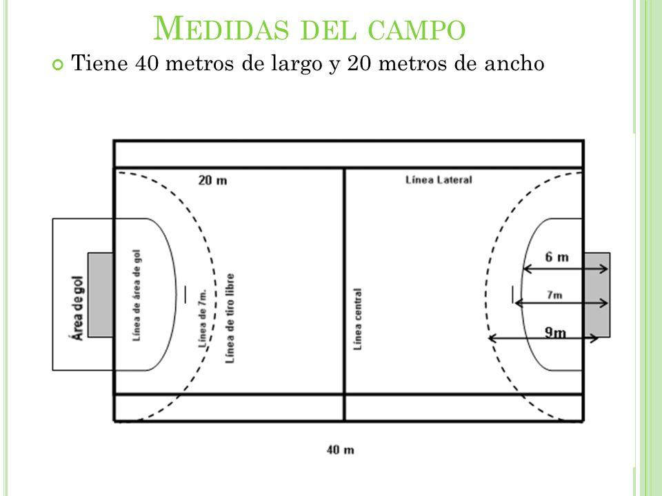 Medidas del campo Tiene 40 metros de largo y 20 metros de ancho