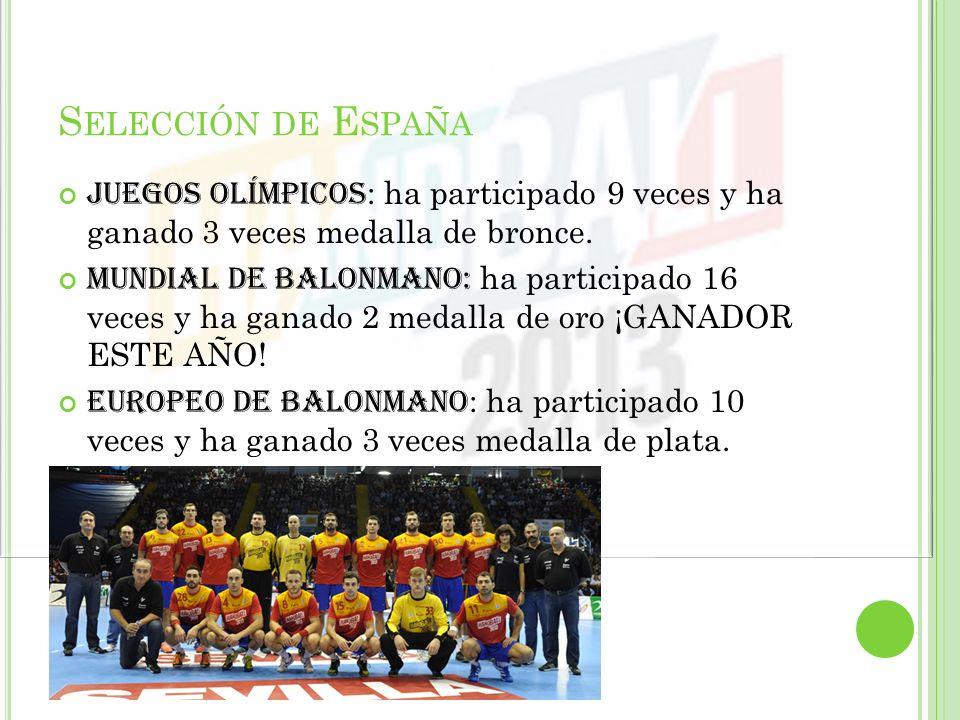 Selección de España Juegos olímpicos: ha participado 9 veces y ha ganado 3 veces medalla de bronce.