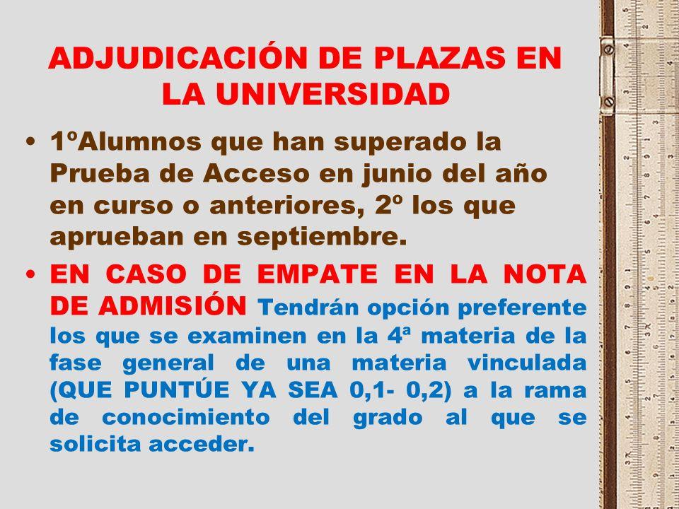 ADJUDICACIÓN DE PLAZAS EN LA UNIVERSIDAD