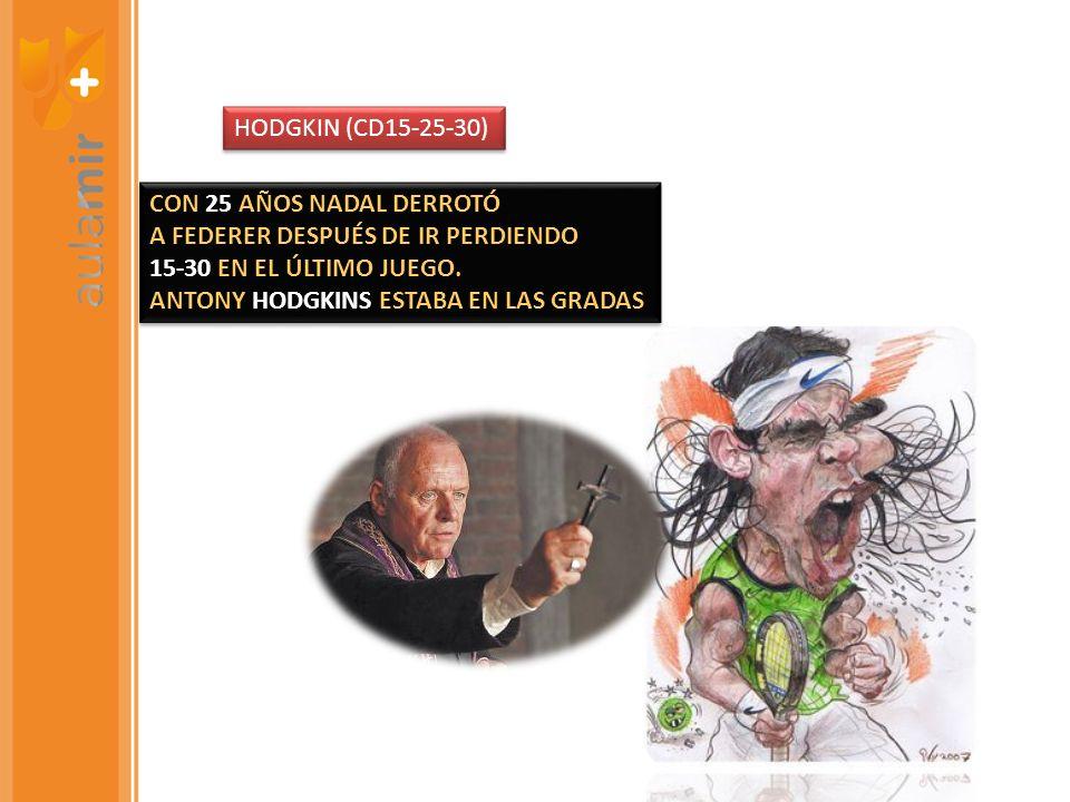 HODGKIN (CD15-25-30)CON 25 AÑOS NADAL DERROTÓ. A FEDERER DESPUÉS DE IR PERDIENDO. 15-30 EN EL ÚLTIMO JUEGO.