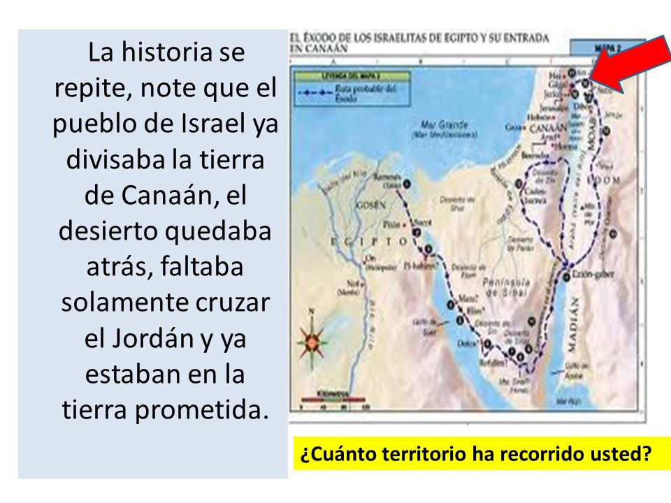 La historia se repite, note que el pueblo de Israel ya divisaba la tierra de Canaán, el desierto quedaba atrás, faltaba solamente cruzar el Jordán y ya estaban en la tierra prometida.