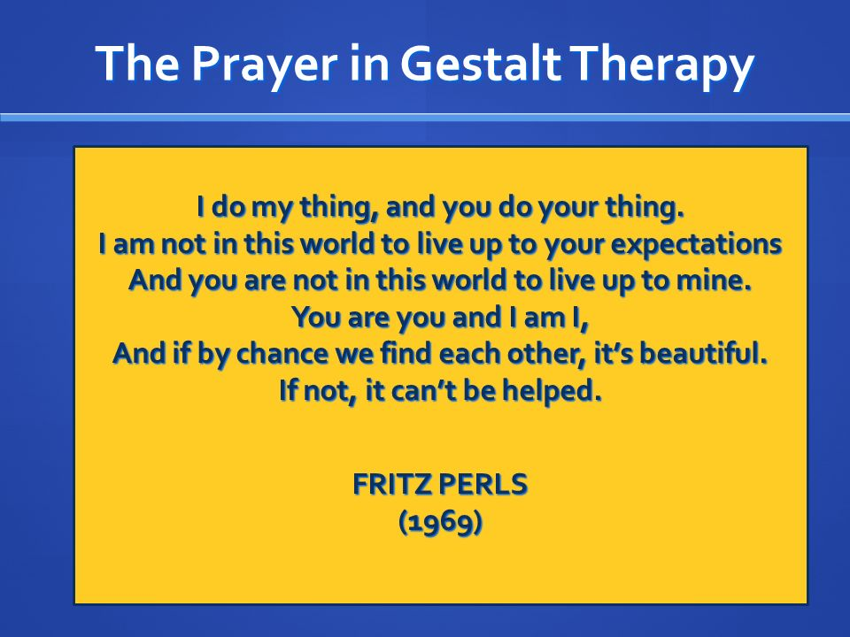 The Prayer in Gestalt Therapy