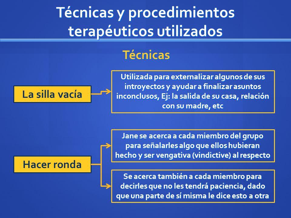 Técnicas y procedimientos terapéuticos utilizados